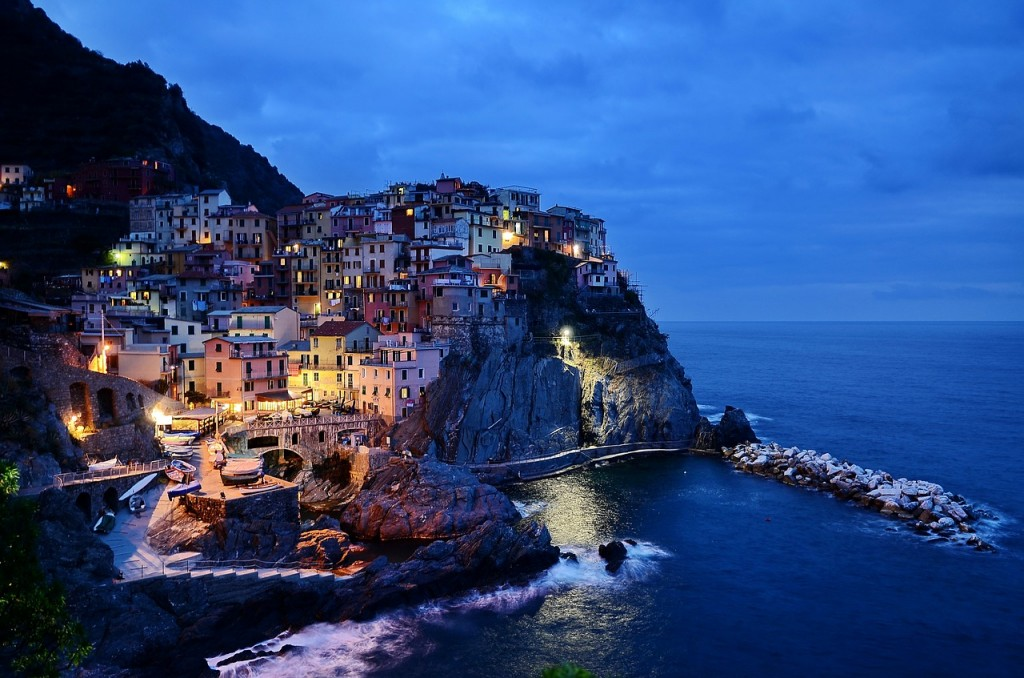 Cinque Terre, night, colourful houses