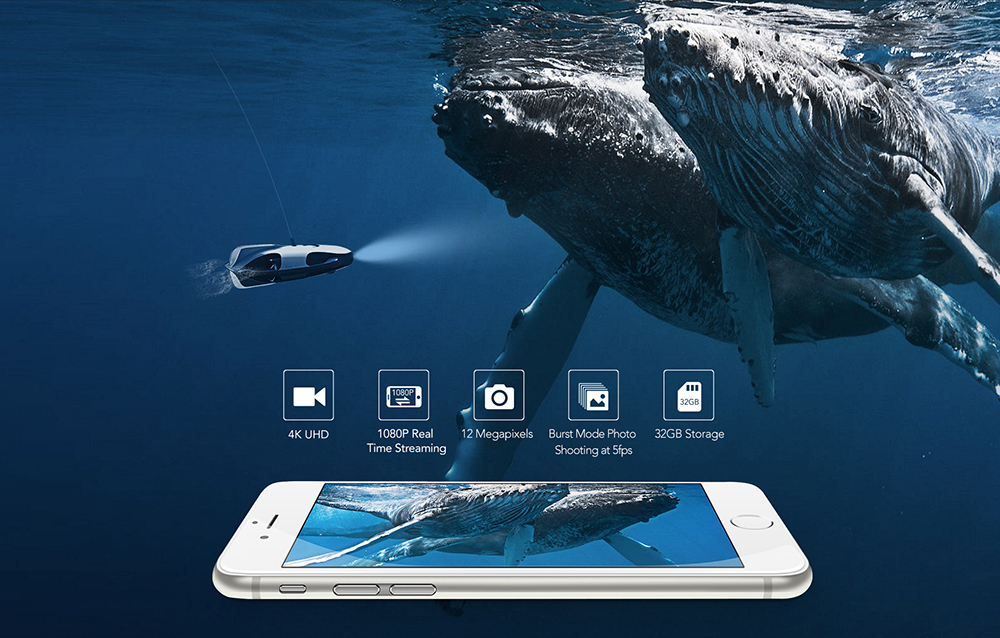 PowerRay underwater robot drone mobile app