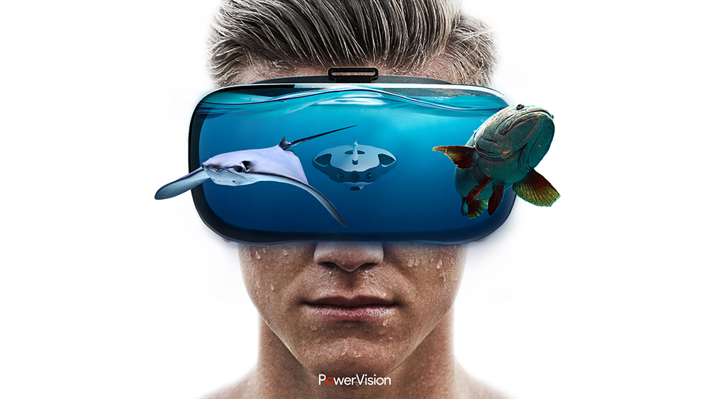 PowerRay virtual reality headset underwater robot