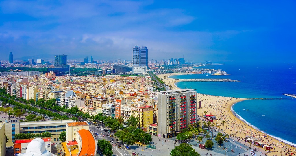 Barcelona coastline beaches cityscape