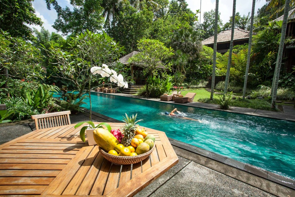 villa beji indah bali pool and trees