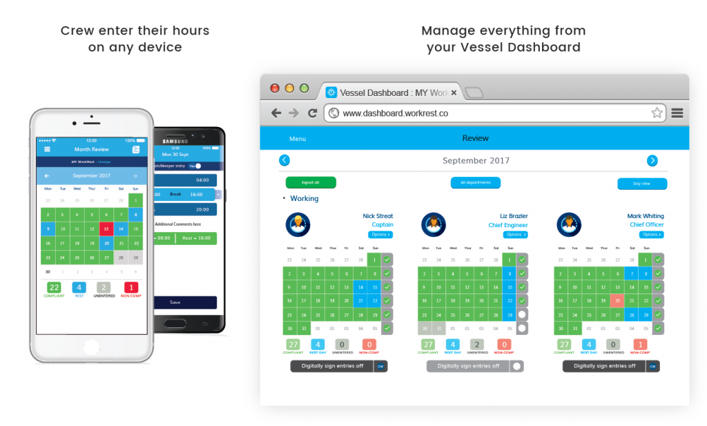 Work rest app on mobile and laptop screen example