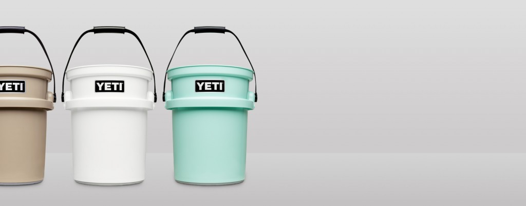 Set of three Yeti Load Out buckets in a row