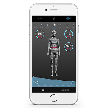 Phone display of Naked Mirror fitness app