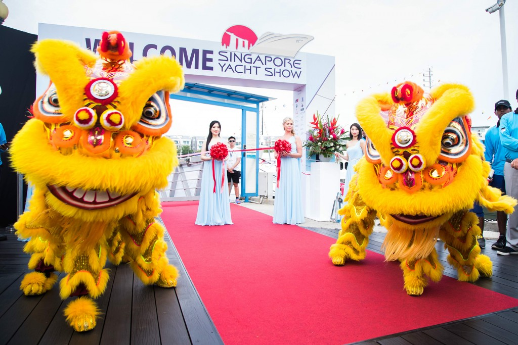 Singapore Yacht show entrance with dragons
