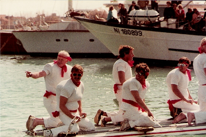 yacht crew on raft at Antibes Raft race