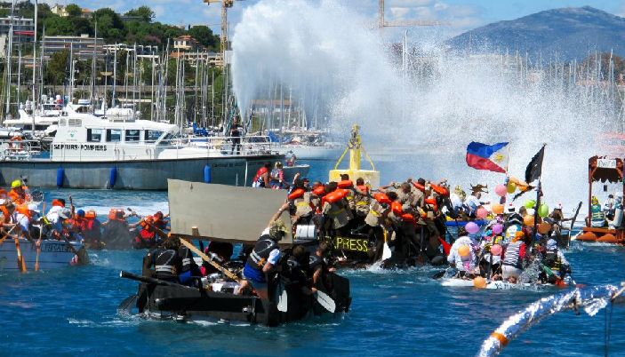 team on a raft at 2012 Antibes Raft Race
