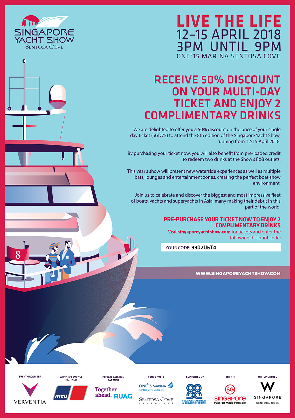 Singapore Yacht Show advert for discounted tickets