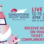 sketch of superyacht with Singapore yacht show logo