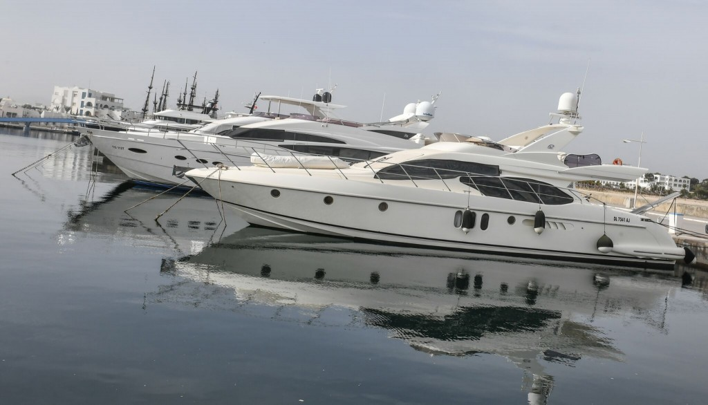 Yasmine Hammamet Marina yachts on the water
