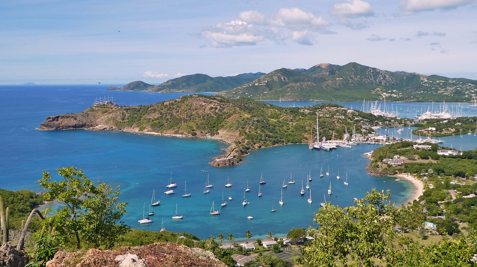 English Harbour view from Shirley Heights in Antigua