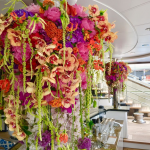 hanging bouquet of flowers on the deck of a superyacht