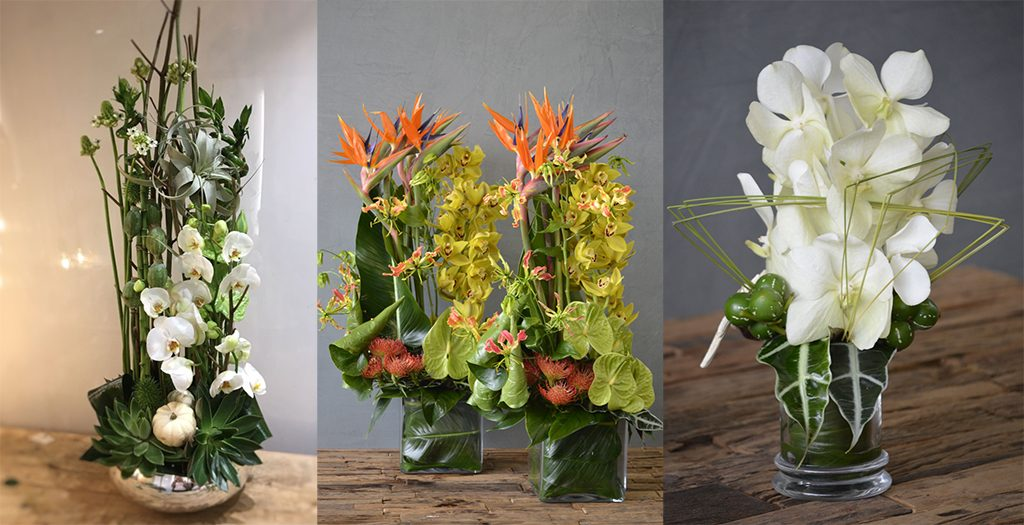 Green and White flower arrangements on superyachts made by Roni Fleurs