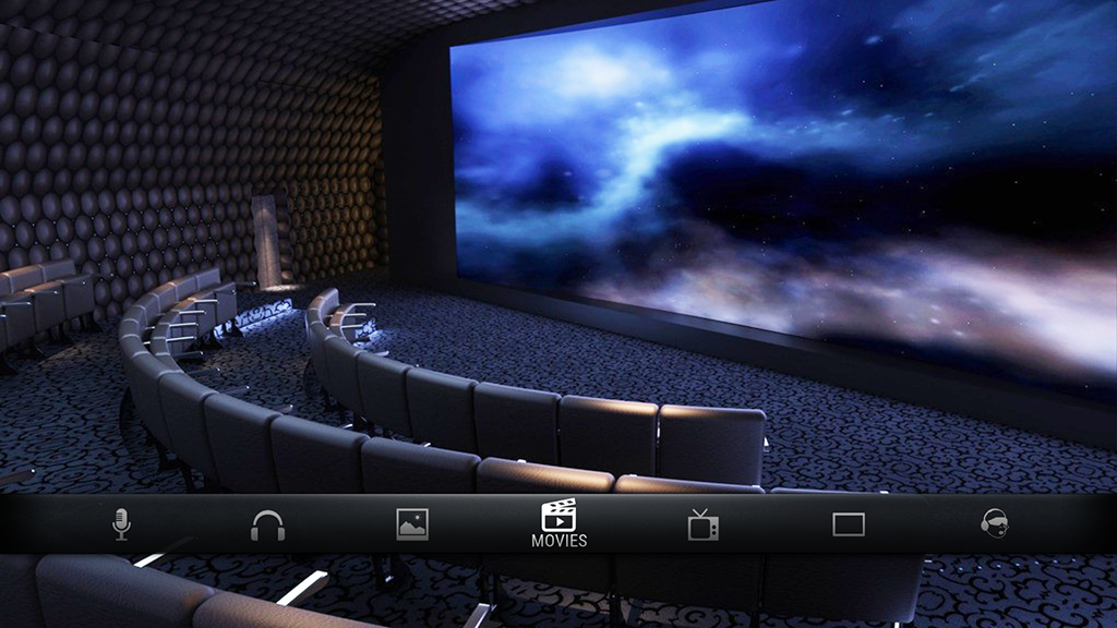 Movie theatre with film icon showing Techno System