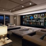 Superyacht with cinema screen in lounge