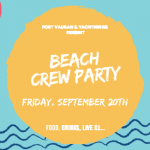 beach themed crew party invitation with blue water and a big yellow sun