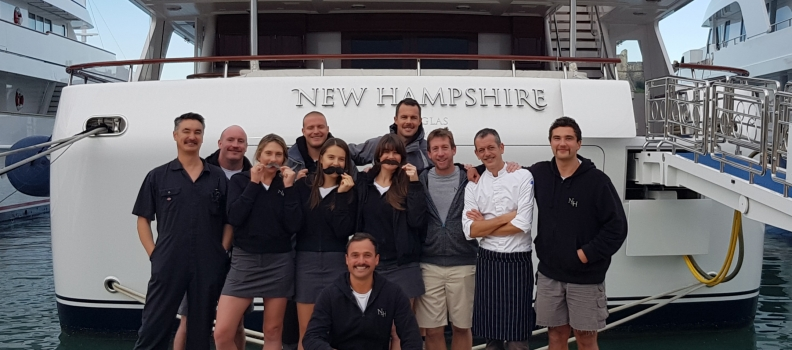 Crew on Motor Yacht New Hampshire organise Movember charity event in Antibes